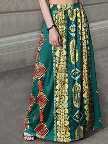 Choies Green High Waist Geo-tribal Print Maxi Skirt