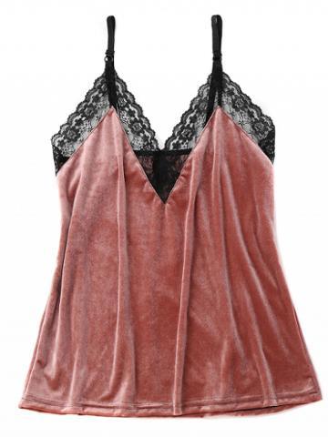 Choies Pink Velvet V-neck Lace Panel Tank
