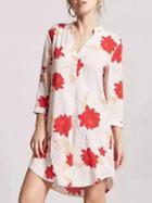 Choies Pink Floral Print Mini Dress