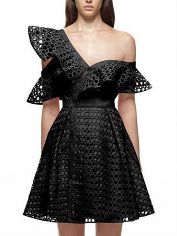 Choies Black Cutwork Lace Asymmetric Frill Skater Dress