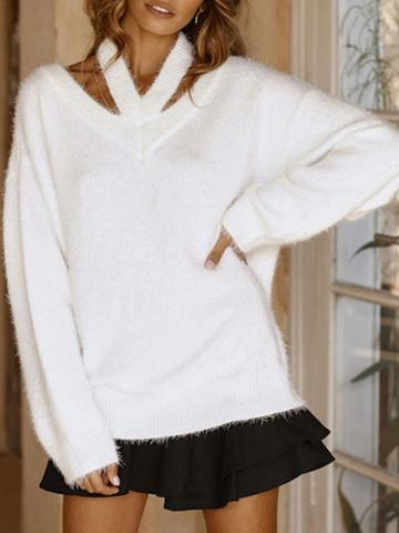 Choies White V-neck Cold Shoulder Long Sleeve Chic Women Knit Sweater