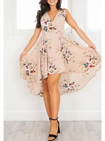 Choies Polychrome V-neck Floral Dipped Hem Sleeveless Dress