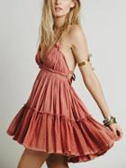 Choies Pink Halter Open Back Mini Dress