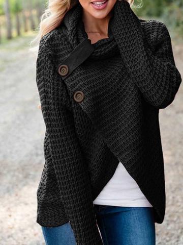 Choies Black High Neck Asymmetric Hem Long Sleeve Women Sweater