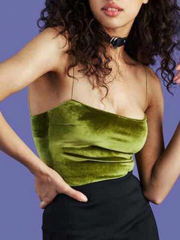 Choies Green Velvet Spaghetti Strap Crop Tank