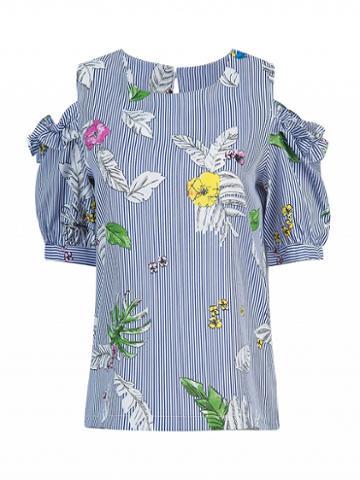 Choies Blue Striped Cold Shoulder Floral Print Frill Detail Top