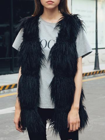 Choies Black Open Front Fluffy Faux Fur Waistcoat