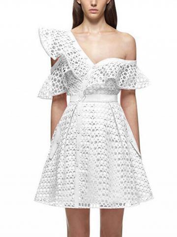 Choies White Cutwork Lace Asymmetric Frill Skater Dress