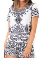 Choies Black Tile Print Short Sleeve Crop Top And Shorts