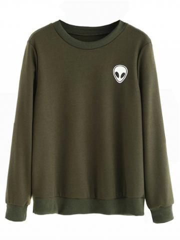 Choies Army Green Alien Print Long Sleeve Sweatshirt