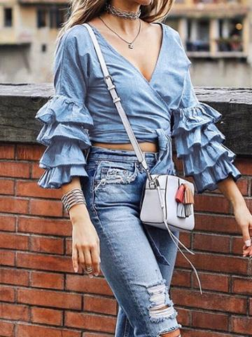 Choies Blue V-neck Tie Waist Layered Flare Sleeve Chic Women Crop Blouse
