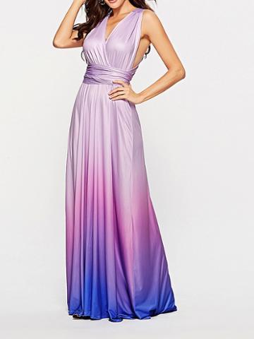 Choies Purple Dip Dye V-neck Open Back Women Cami Maxi Dress