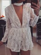Choies White Plunge Sequin Detail Long Sleeve Women Romper Playsuit