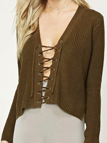 Choies Green Plunge Eyelet Lace Up Long Sleeve Chic Women Knit Sweater