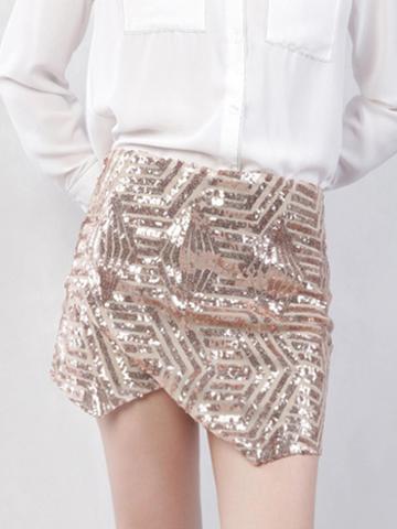 Choies Golden High Waist Sequin Detail Women Sparkling Mini Skirt