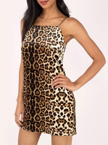 Choies Leopard Print Spaghetti Strap Mini Dress