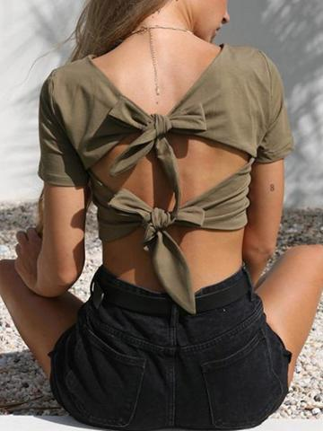 Choies Army Green Cotton Plunge Tie Backless Chic Women Cropped T-shirt