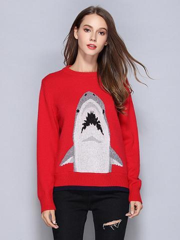 Choies Red Cartoon Pattern Long Sleeve Knit Sweater