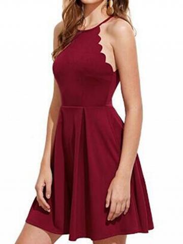 Choies Burgundy Chevron Trim Women Cami Mini Dress