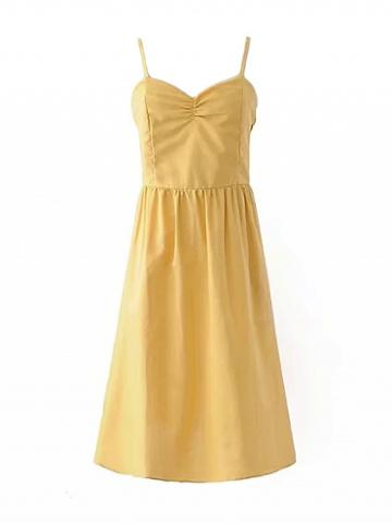 Choies Yellow V-neck Ruched Detail Strappy Back Cross Backless Dress