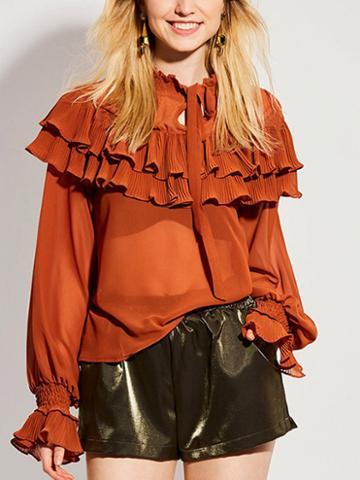 Choies Orange Ruffle Trim Tie Front Long Sleeve Blouse