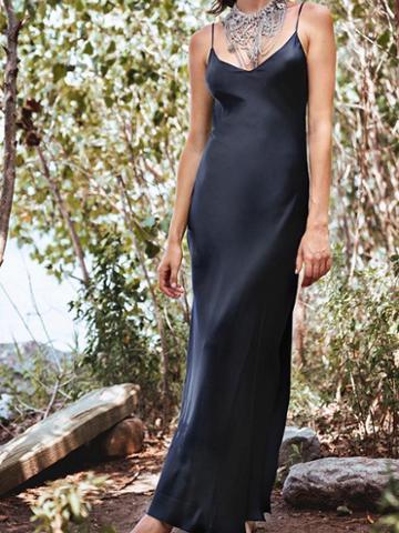 Choies Black Satin Look V-neck Thigh Split Side Women Cami Maxi Dress