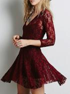 Choies Burgundy Plunge Lace Mini Dress