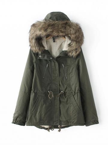 Choies Army Green Drawstring Waist Faux Fur Hood Parka Coat