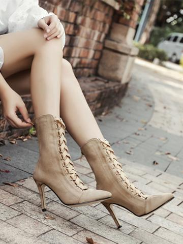 Choies Beige Lace Up Front Pointed Toe Chic Women Velvet Ankle Heeled Boots
