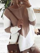 Choies Khaki Contrast Split Side Knit Sweater