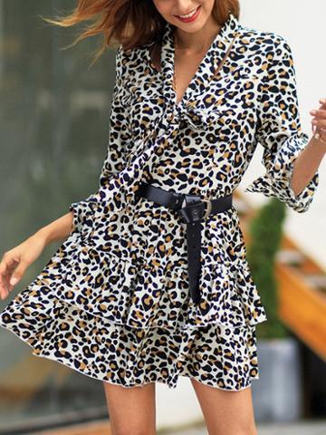 Choies Brown Leopard Print Tie Front Flare Sleeve Women Mini Dress