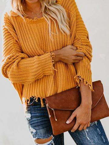 Choies Yellow V-neck Tassel Trim Long Sleeve Chic Women Knit Crop Sweater
