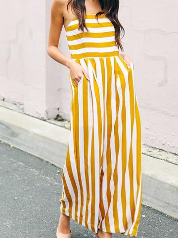 Choies Yellow Stripe Bandeau Ruched Back Chic Women Jumpsuit