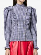 Choies Blue Plaid Ruffle Trim Long Sleeve Shirt