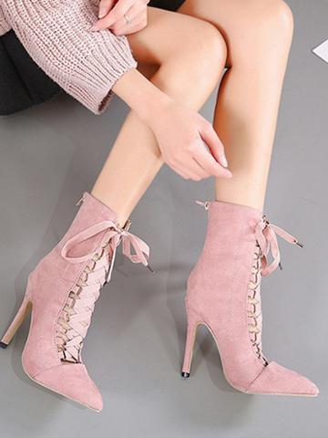 Choies Pink Lace Up Front Pointed Toe Chic Women Velvet Ankle Heeled Boots
