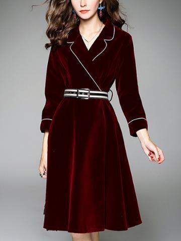 Choies Burgundy Velvet Lapel Buckle Belt Detail Long Sleeve Dress