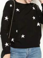 Choies Black Cotton Blend Star Print Long Sleeve Sweater