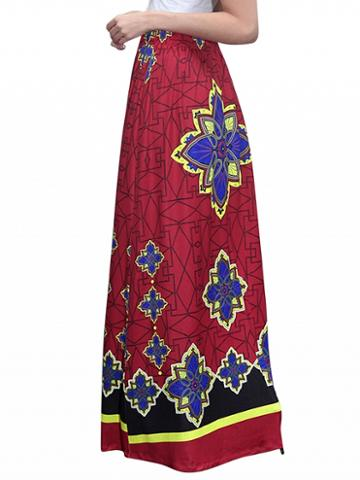 Choies Red High Waist Geo-tribal Print Maxi Skirt