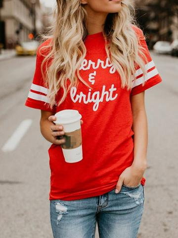 Choies Red Cotton Letter Print Stripe Panel Chic Women T-shirt