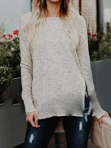 Choies Beige Crew Neck Split Side Long Sleeve Women Sweater