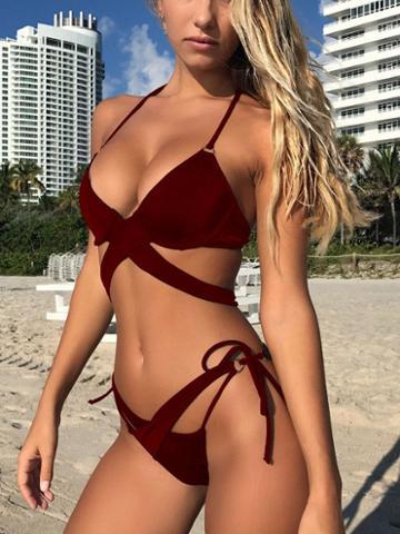 Choies Burgundy Cross Strap Bikini Top And Bottom