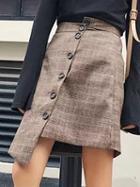 Choies Khaki Plaid High Waist Asymmetric Hem Button Front Skirt