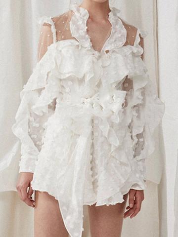 Choies White V-neck Polka Dot Tie Waist Ruffle Trim Women Romper Playsuit