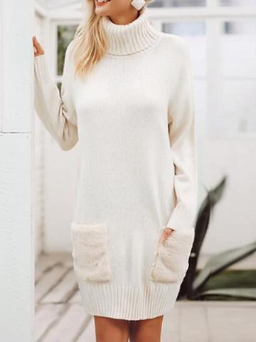 Choies White High Neck Long Sleeve Women Knit Mini Dress