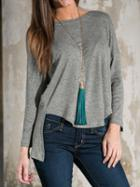 Choies Gray Hi-lo Casual Knitted Sweater