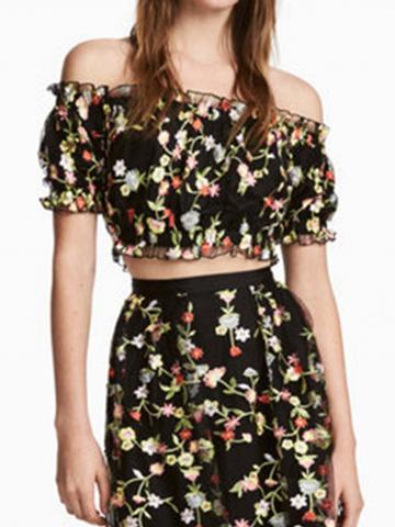 Choies Black Off Shoulder Embroidery Floral Mesh Crop Top