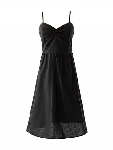 Choies Black V-neck Ruched Detail Strappy Back Cross Backless Dress