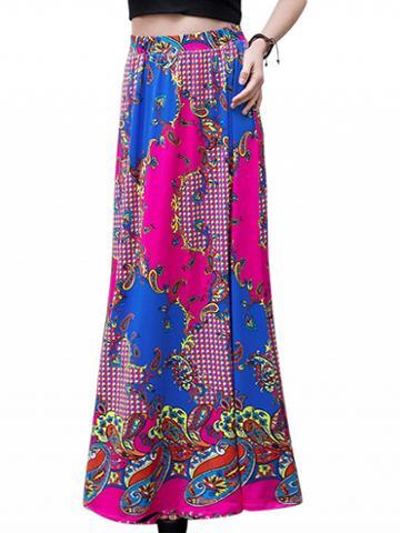 Choies Polychrome High Waist Tribal And Paisley Print Maxi Skirt