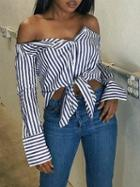 Choies Blue Stripe Off Shoulder Tie Front Long Sleeve Shirt