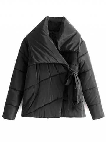 Choies Black Lapel Bow Tie Detail Padded Coat
